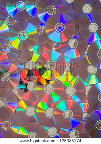 Dozens Of Cds Or Dvds Laid Flat