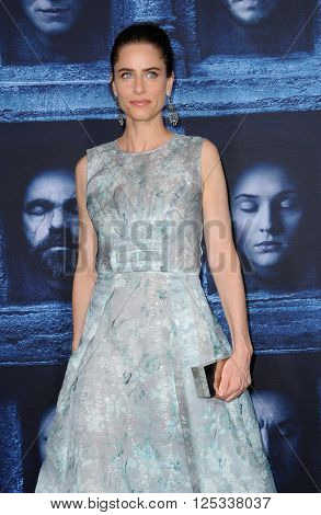 Amanda Peet at the season 6 premiere of HBO's 'Game Of Thrones' held at the TCL Chinese Theatre in Hollywood, USA on April 10, 2016.