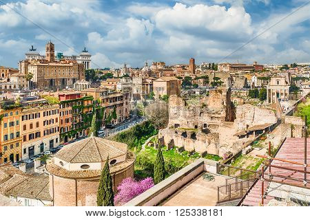 Aerial View Of Rome City Centre From The Palatine Hill