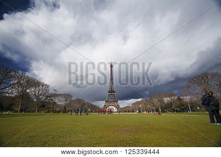 PARIS, FRANCE - MARCH 27, 2016: Beautiful view of Eiffel tower, Paris, France