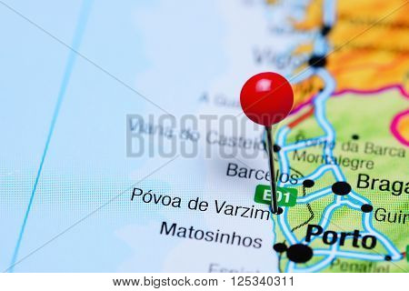 Povoa de Varzim pinned on a map of Portugal