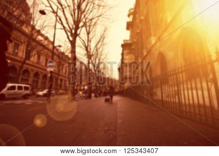 Blurred city street background. Defocused background.