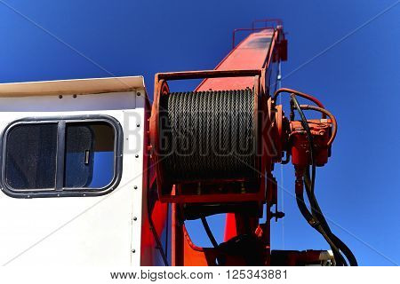 Close Up Of Cable, Cabin And Boom On A Crane