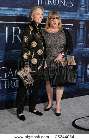 LOS ANGELES - APR 10:  Faye Dunaway, Colleen Camp at the Game of Thrones Season 6 Premiere Screening at the TCL Chinese Theater IMAX on April 10, 2016 in Los Angeles, CA