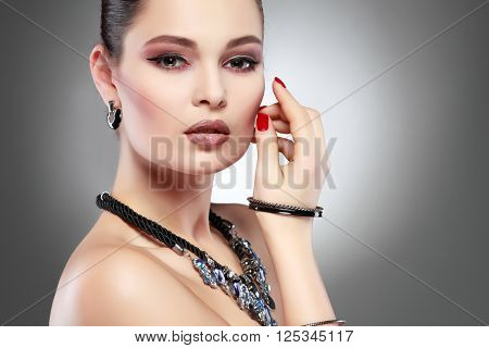 Fashion girl portrait.Accessorys.Dark hairs