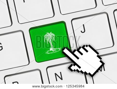 Computer keyboard with palm tree key