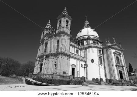 Sanctuary of Sameiro in Braga, north of Portugal. Color in black and white