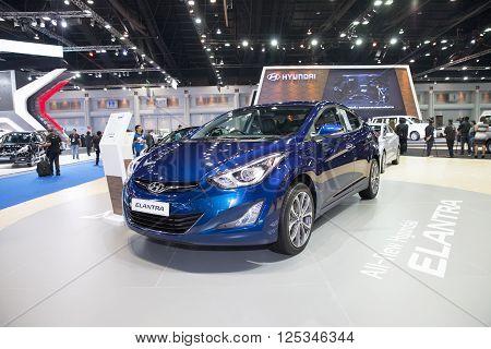 BANGKOK - MARCH 22: Hyundai Elantra car on display at The 37 th Thailand Bangkok International Motor Show on March 22 2016 in Bangkok Thailand.