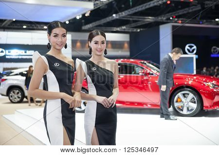 BANGKOK - MARCH 22: Unidentified models on display of Lexus showroom at The 37 th Thailand Bangkok International Motor Show on March 22 2016 in Bangkok Thailand.