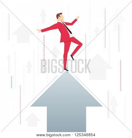 Red suit businessman standing on arrow peak. Vector concept illustration.