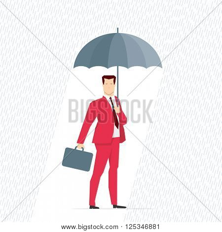 Red suit businessman under the rain with an umbrella. Vector concept illustration.