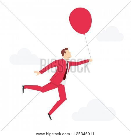 Red suit businessman flying with red balloon. Vector concept illustration.