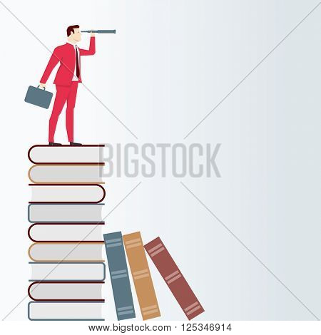 Businessman on books, looks through a telescope. Vector business concept illustration.