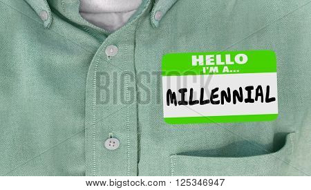 Hello I am a Millennial Generation Y Nametag Sticker Word