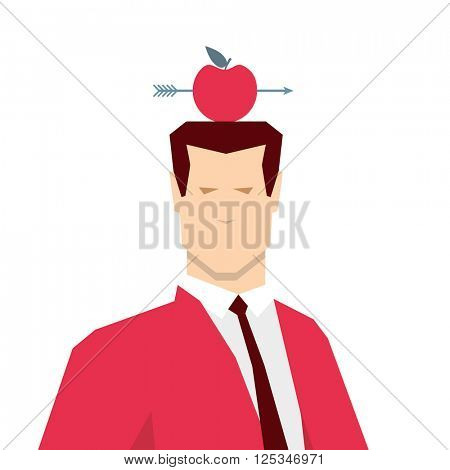 Red suit businessman and apple target. Vector concept illustration.