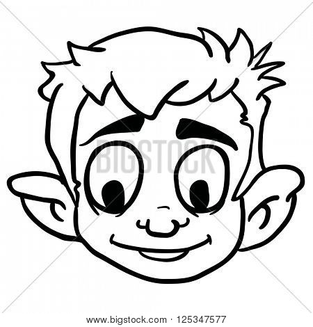 black and white smiling boy cartoon