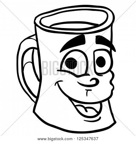 simple black and white smiling coffee cup