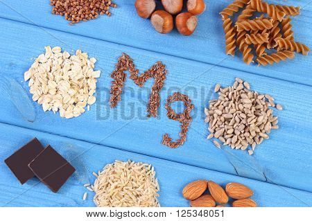 Inscription Mg ingredients and products containing magnesium and dietary fiber healthy nutrition wholemeal pasta sunflower buckwheat oatmeal brown rice linseed hazelnut almonds chocolate poster