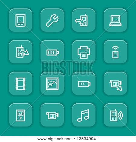 Mobile phone and media content, smartphone and internet concept, web vector stock icons