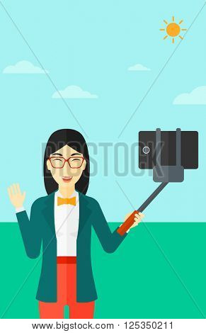 Woman making selfie.