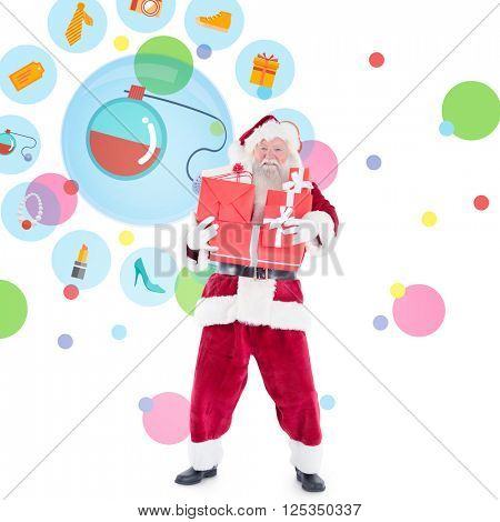 Santa carrying gifts against dot pattern