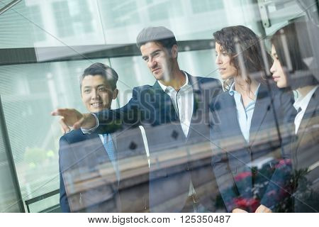 Group diversity business people discuss the goal