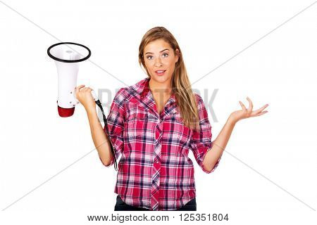 Screaming young woman holding megaphone and gesturing dont know