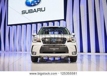 BANGKOK - MARCH 22: Subaru Forester 2.0 XT car on display at The 37 th Thailand Bangkok International Motor Show on March 22 2016 in Bangkok Thailand.