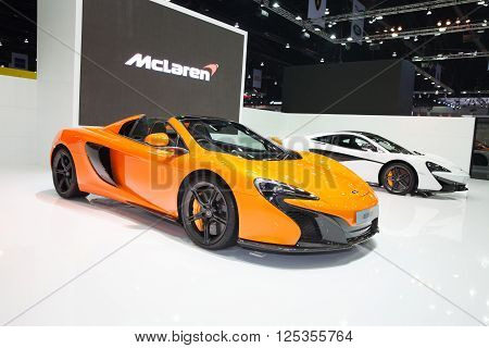 BANGKOK - MARCH 22: McLaren 650s car on display at The 37 th Thailand Bangkok International Motor Show on March 22 2016 in Bangkok Thailand.