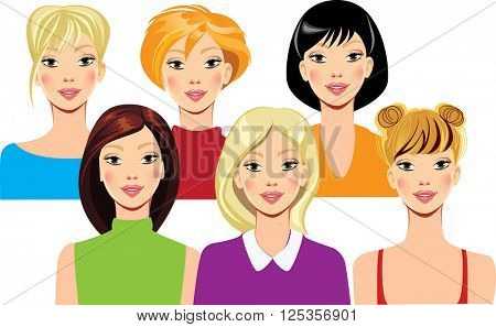 face of the girl with different hairstyles