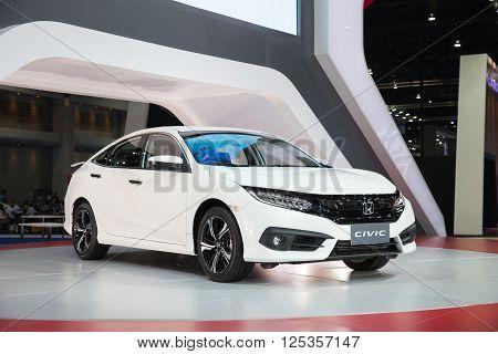 BANGKOK - MARCH 22: Honda civic car on display at The 37 th Thailand Bangkok International Motor Show on March 22 2016 in Bangkok Thailand.