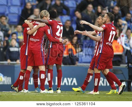 BARCELONA - APRIL, 9: Atletico Madrid players celebrating goal during a Spanish League match against RCD Espanyol at the Power8 stadium on April 9, 2016 in Barcelona, Spain