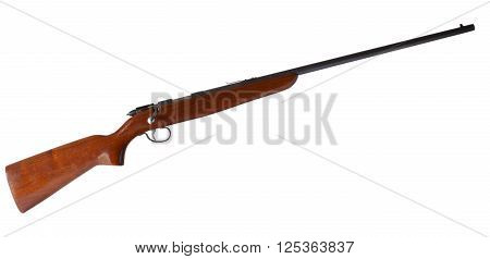 Bolt action wood stocked rifle for rim fire cartridges isolated on white
