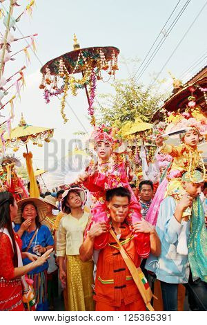 Pai Maehongson Thailand. Poi Sang Long Festival. 3 April 2016.