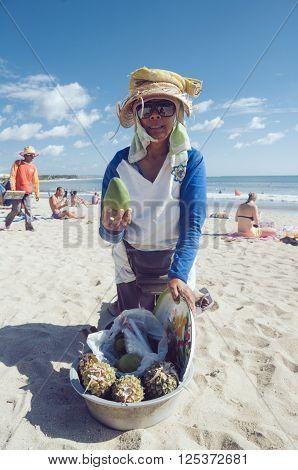 Fruit Seller On Kuta Beach, Bali