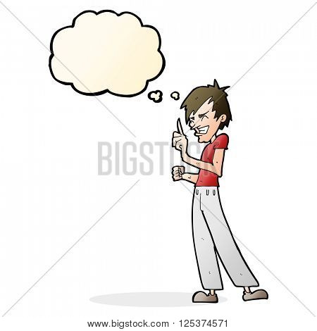 cartoon angry man arguing with thought bubble