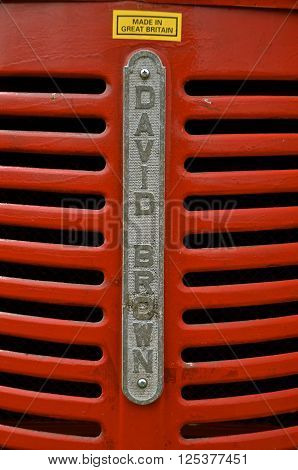 ROLLAG, MINNESOTA-September 3, 2015: A grill from an old David Brown tractor, a company from Great Britain now specializes in engineering and is principally engaged in the manufacture of gears and gearboxes.