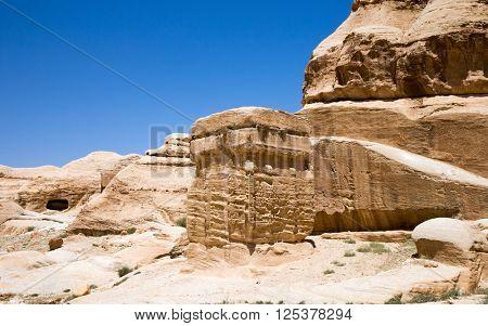 Beautiful red rock formations in Petra Jordan.