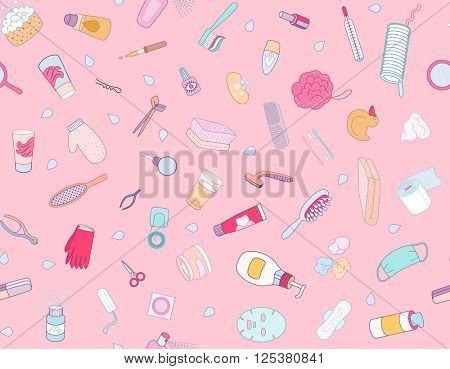 Hygiene elements seamless pattern on pink background, flat cartoon vector illustration