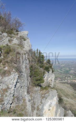 The precipice of San Marino and the Adriatic coast