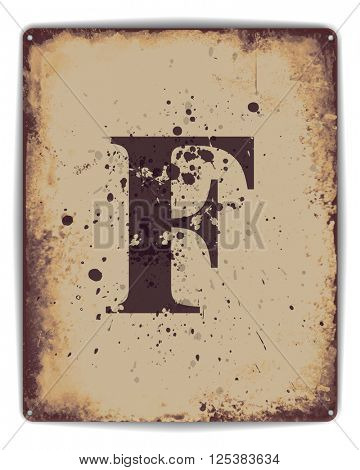 Retro tin plate style poster with capital letter F monogram.