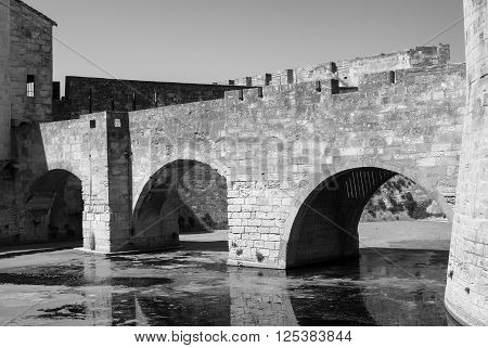 Aigues-Mortes (Gard Languedoc-Roussillon France): historic bridge. Black and white