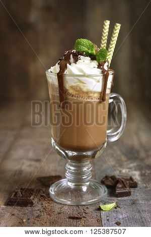 Summer Cold Drink Chocolate Frappuccino.
