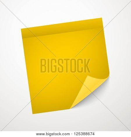 Blank yellow sticker with bending corner