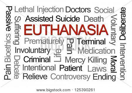 Euthanasia Word Cloud on White Background