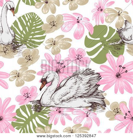 Summer pattern, swans and tropical flowers