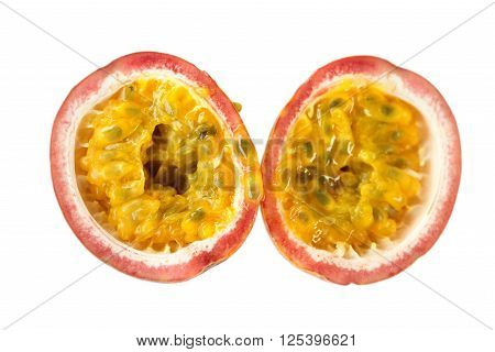 Matching Halves Of A Ripe Passion Fruit