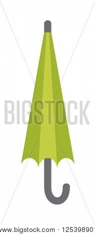 Vector illustration of classic elegant closed green umbrella isolated on white background.