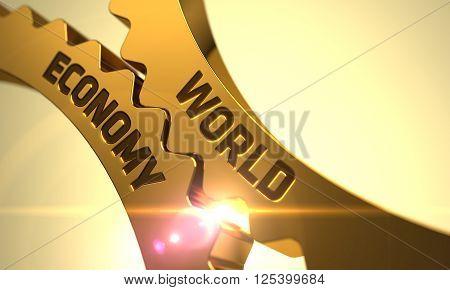World Economy on Mechanism of Golden Cogwheels with Glow Effect. World Economy on the Mechanism of Golden Gears with Lens Flare. World Economy Golden Cogwheels. 3D.