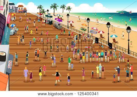 A vector illustration of people in a boardwalk scene